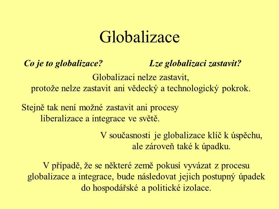 Globalizace Co je to globalizace Lze globalizaci zastavit