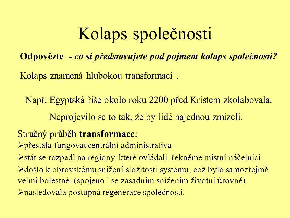 Kolaps společnosti Odpovězte - co si představujete pod pojmem kolaps společnosti Kolaps znamená hlubokou transformaci .