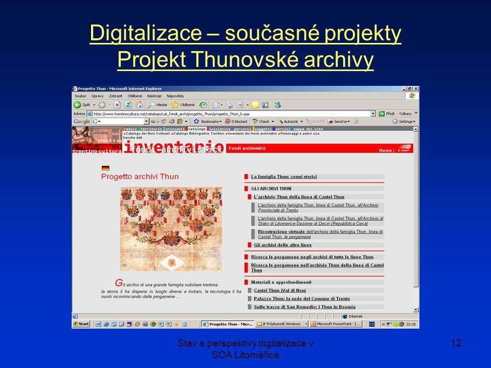Digitalizace – současné projekty Projekt Thunovské archivy
