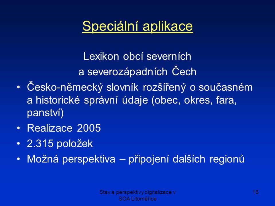 Speciální aplikace Lexikon obcí severních a severozápadních Čech