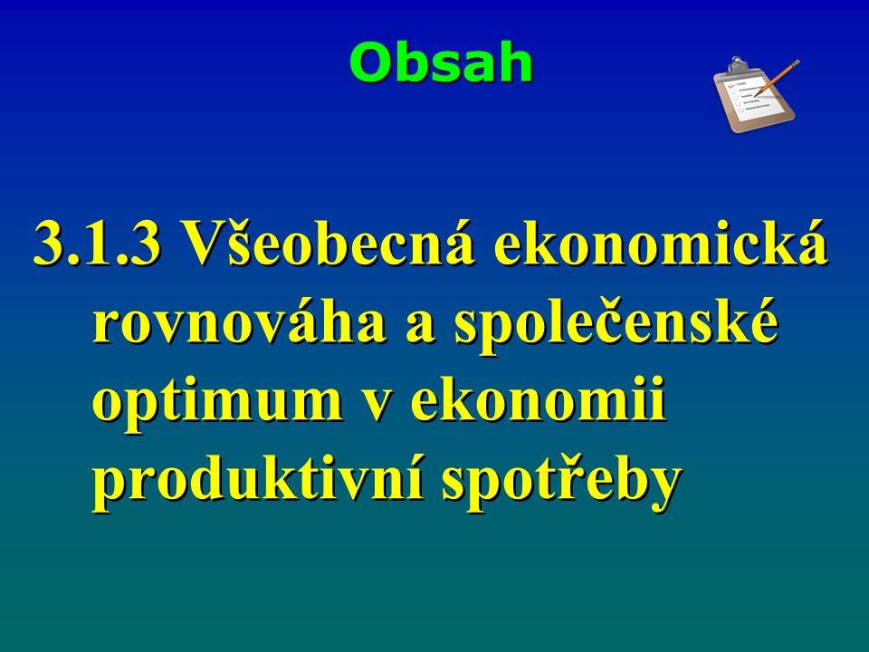 Obsah 3.1.3 Všeobecná ekonomická rovnováha a společenské optimum v ekonomii produktivní spotřeby