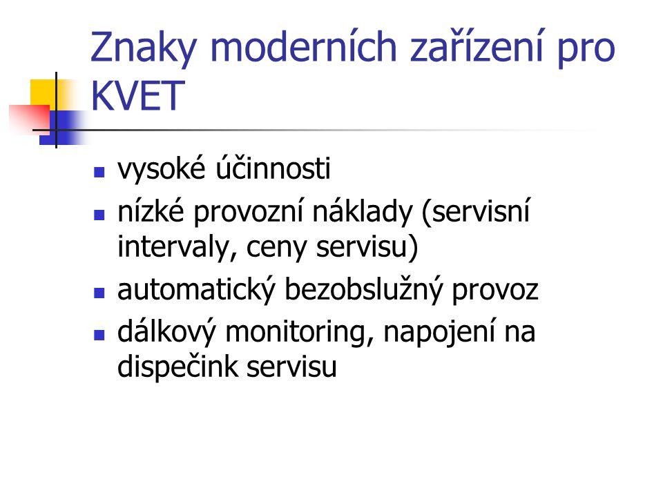 Znaky moderních zařízení pro KVET