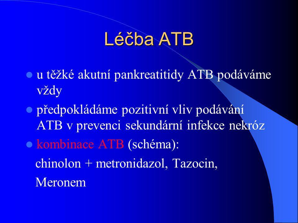 Léčba ATB u těžké akutní pankreatitidy ATB podáváme vždy