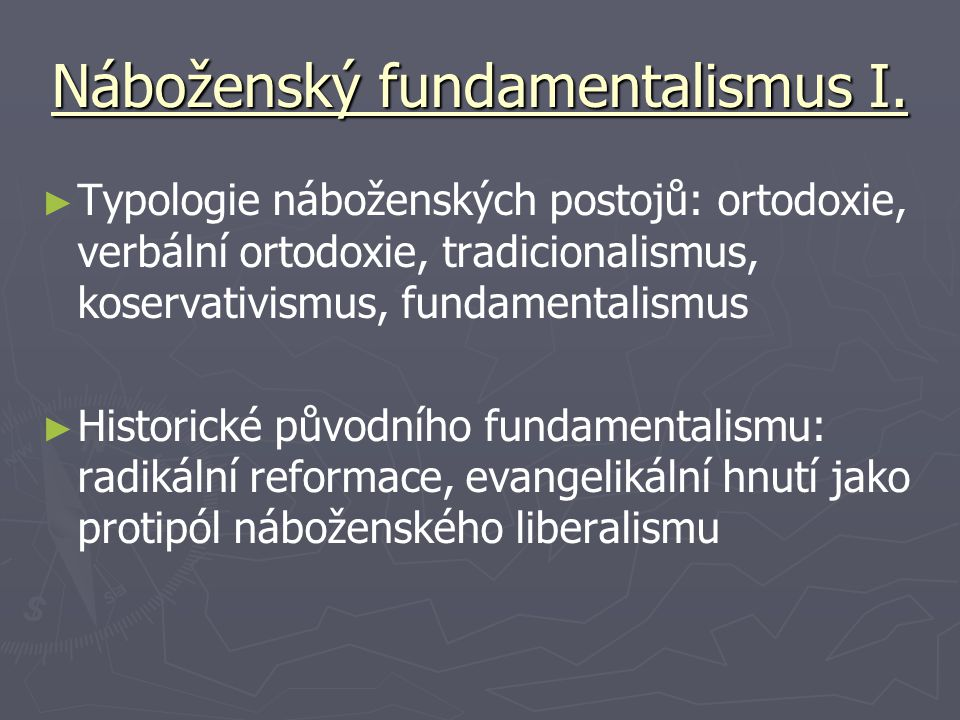 Náboženský fundamentalismus I.