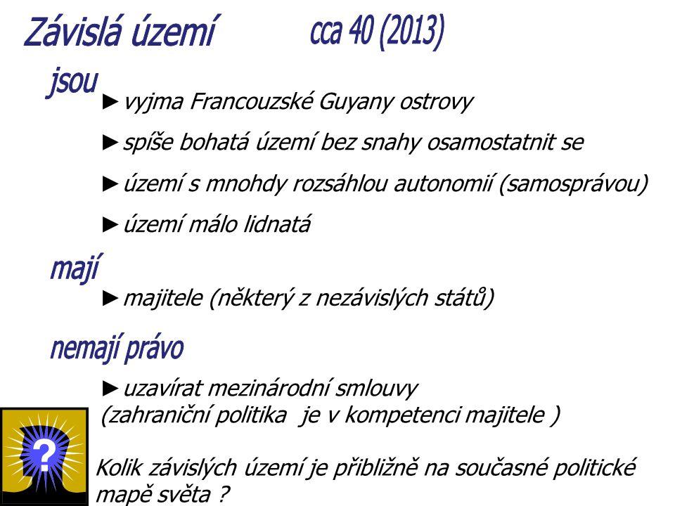 Závislá území cca 40 (2013) jsou mají nemají právo