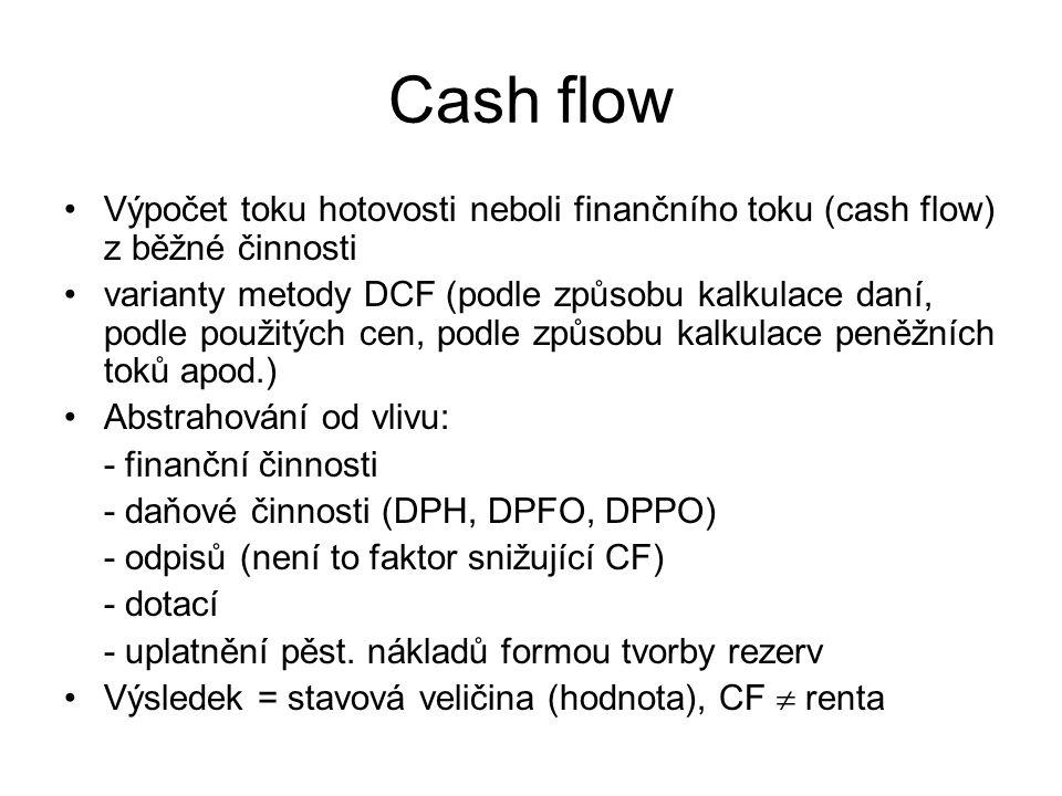 Cash flow Výpočet toku hotovosti neboli finančního toku (cash flow) z běžné činnosti.