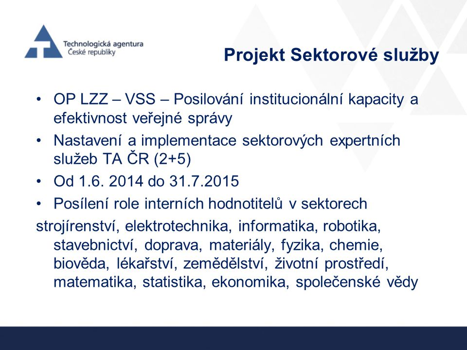 Projekt Sektorové služby