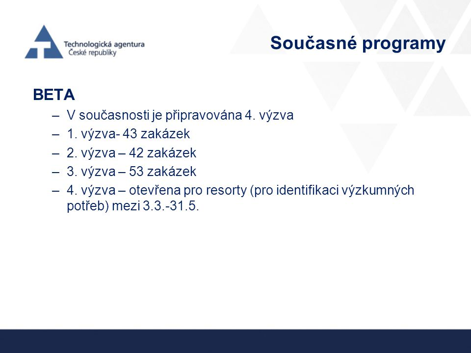 Současné programy BETA V současnosti je připravována 4. výzva