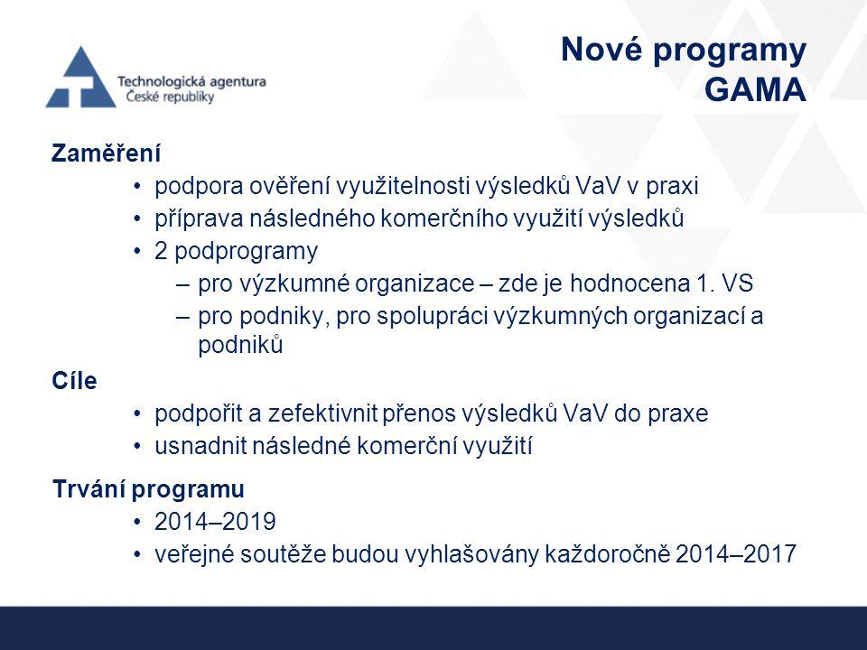 Nové programy GAMA Zaměření