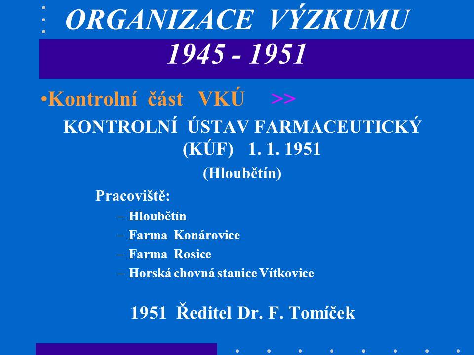 KONTROLNÍ ÚSTAV FARMACEUTICKÝ (KÚF) 1. 1. 1951
