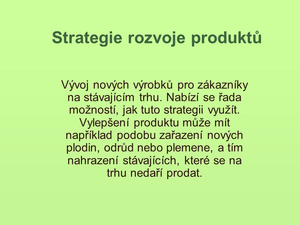 Strategie rozvoje produktů