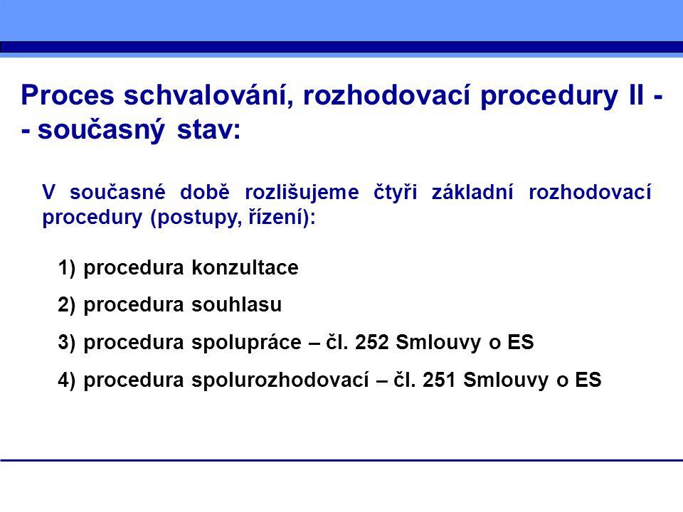 Proces schvalování, rozhodovací procedury II - - současný stav: