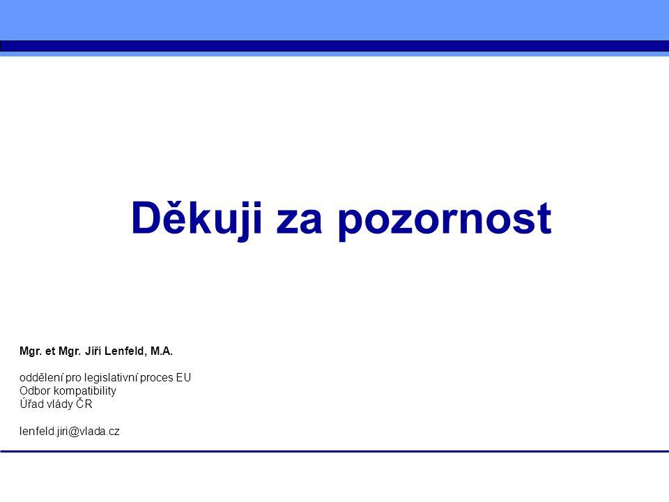 Děkuji za pozornost Mgr. et Mgr. Jiří Lenfeld, M.A.