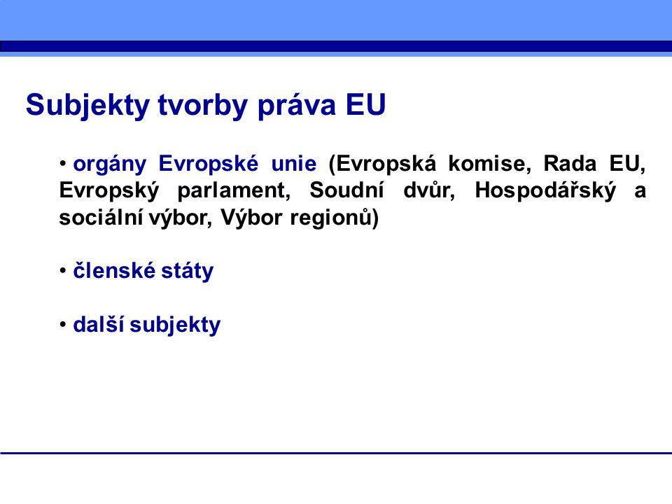 Subjekty tvorby práva EU
