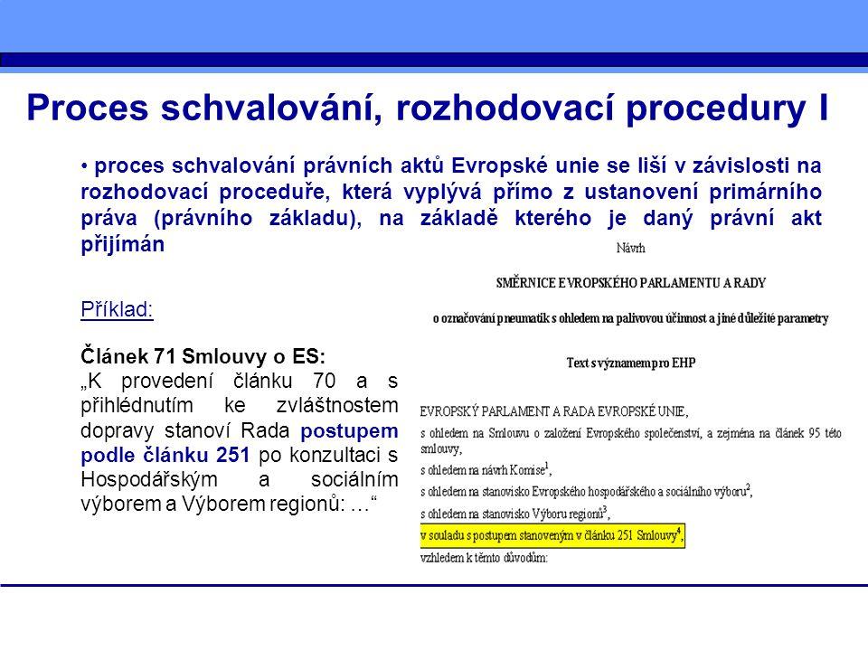 Proces schvalování, rozhodovací procedury I