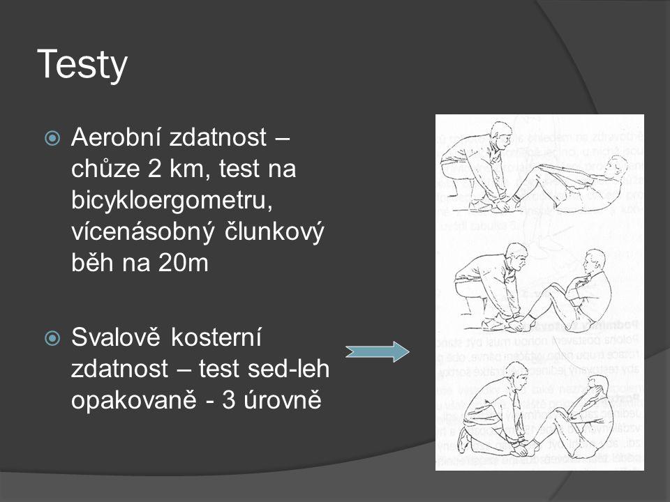Testy Aerobní zdatnost – chůze 2 km, test na bicykloergometru, vícenásobný člunkový běh na 20m.