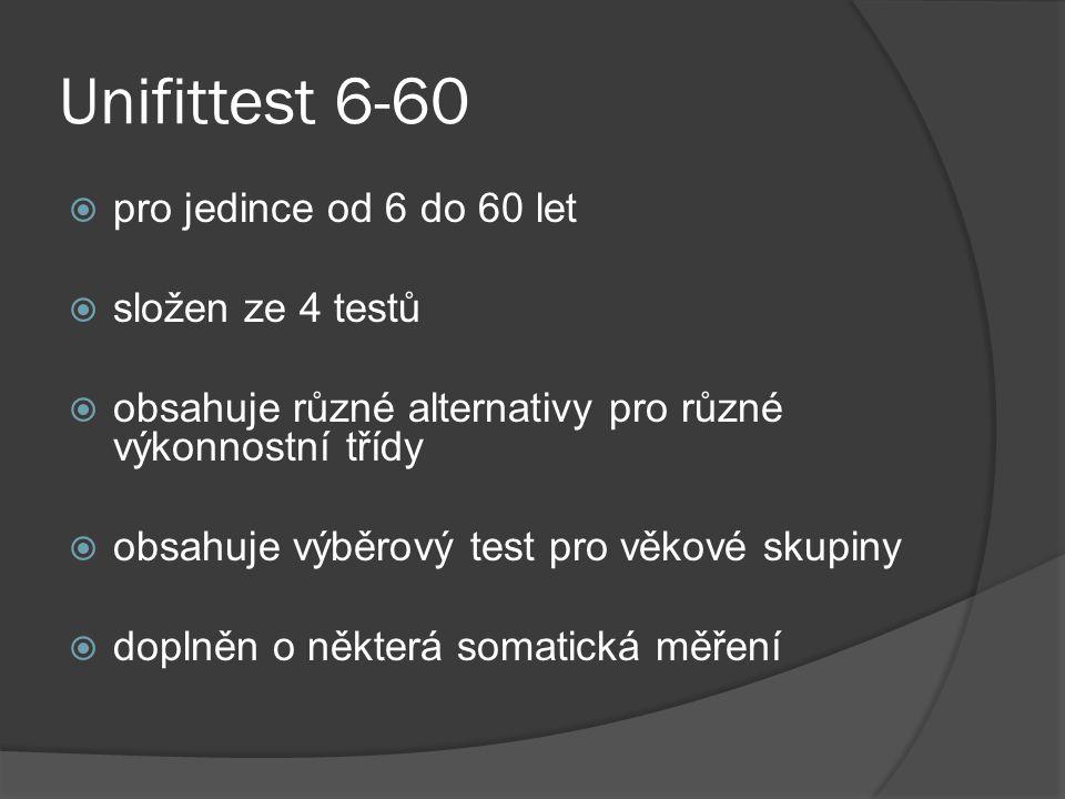 Unifittest 6-60 pro jedince od 6 do 60 let složen ze 4 testů