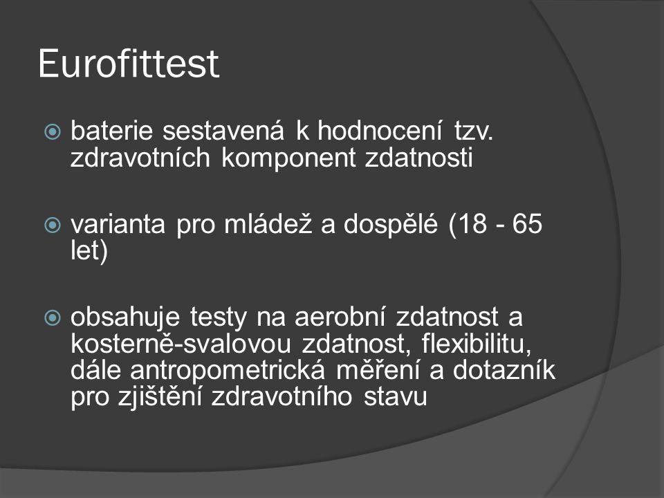 Eurofittest baterie sestavená k hodnocení tzv. zdravotních komponent zdatnosti. varianta pro mládež a dospělé (18 - 65 let)