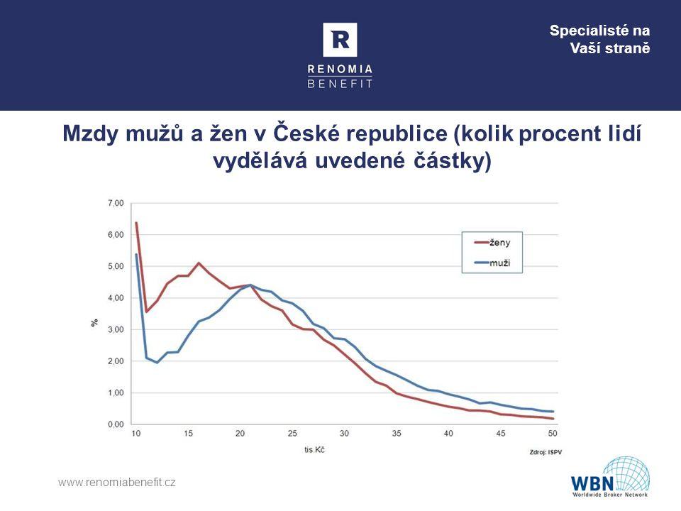 Mzdy mužů a žen v České republice (kolik procent lidí vydělává uvedené částky)