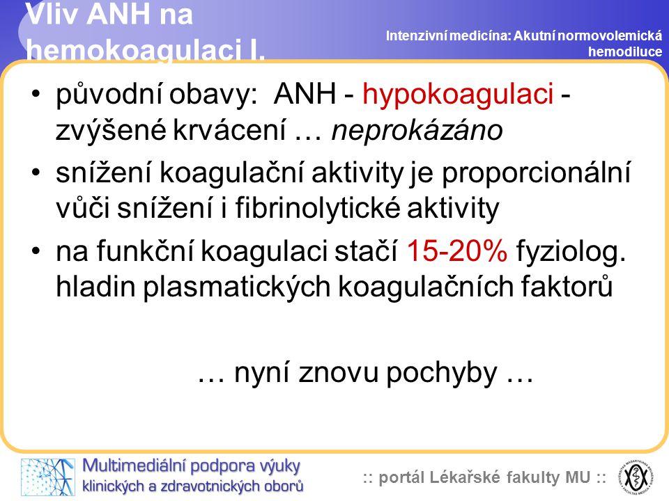 Vliv ANH na hemokoagulaci I.