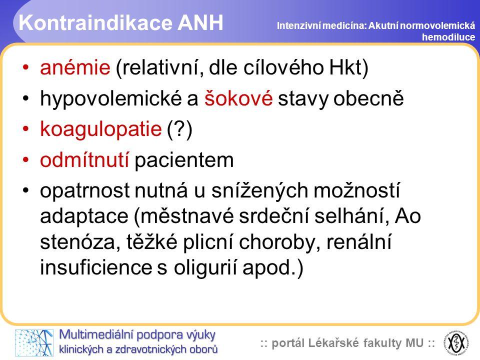 anémie (relativní, dle cílového Hkt)