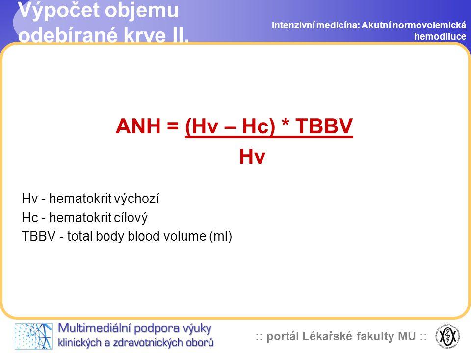 Výpočet objemu odebírané krve II.