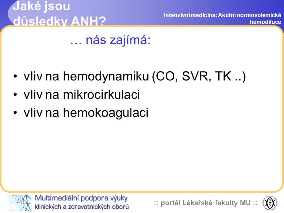 vliv na hemodynamiku (CO, SVR, TK ..) vliv na mikrocirkulaci