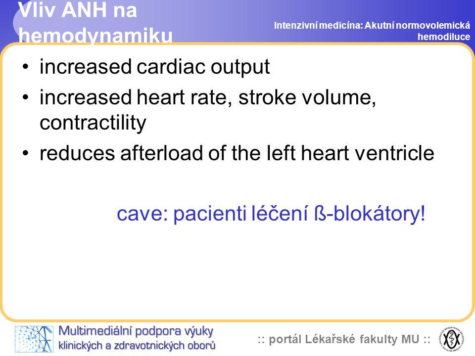 Vliv ANH na hemodynamiku