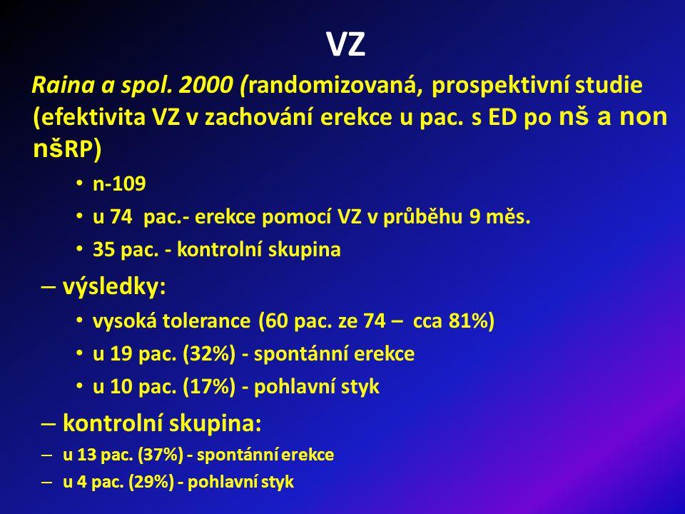 VZ Raina a spol. 2000 (randomizovaná, prospektivní studie (efektivita VZ v zachování erekce u pac. s ED po nš a non nšRP)