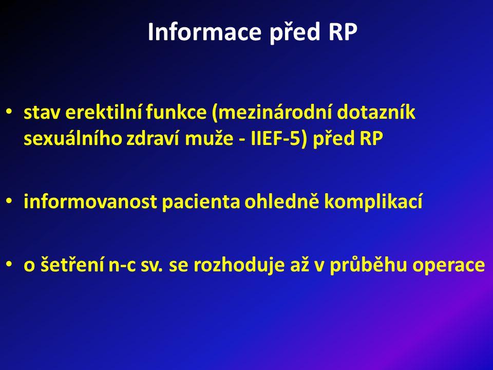 Informace před RP stav erektilní funkce (mezinárodní dotazník sexuálního zdraví muže - IIEF-5) před RP.