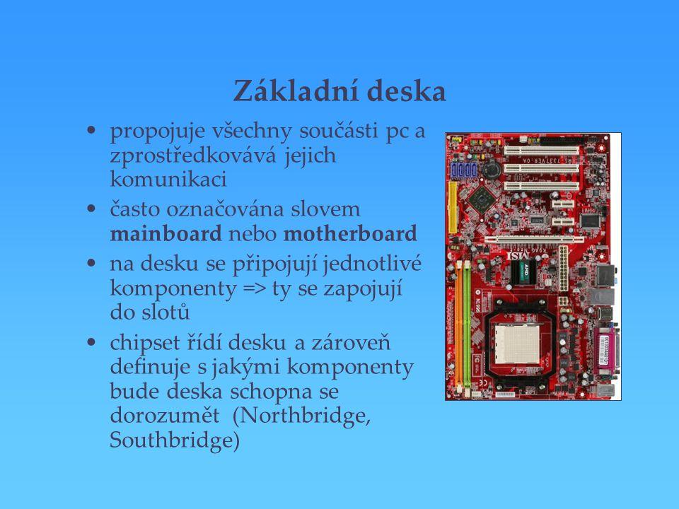 Základní deska propojuje všechny součásti pc a zprostředkovává jejich komunikaci. často označována slovem mainboard nebo motherboard.