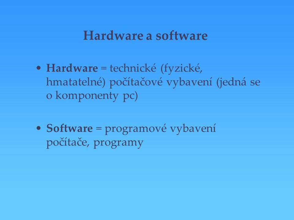 Hardware a software Hardware = technické (fyzické, hmatatelné) počítačové vybavení (jedná se o komponenty pc)