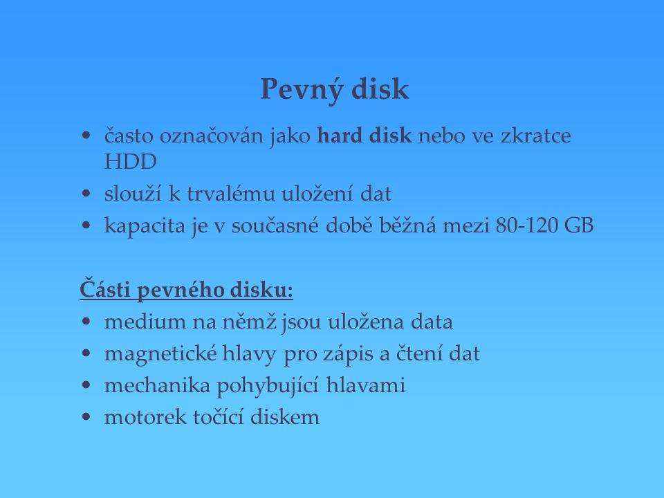 Pevný disk často označován jako hard disk nebo ve zkratce HDD