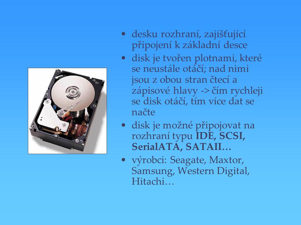 desku rozhraní, zajišťující připojení k základní desce