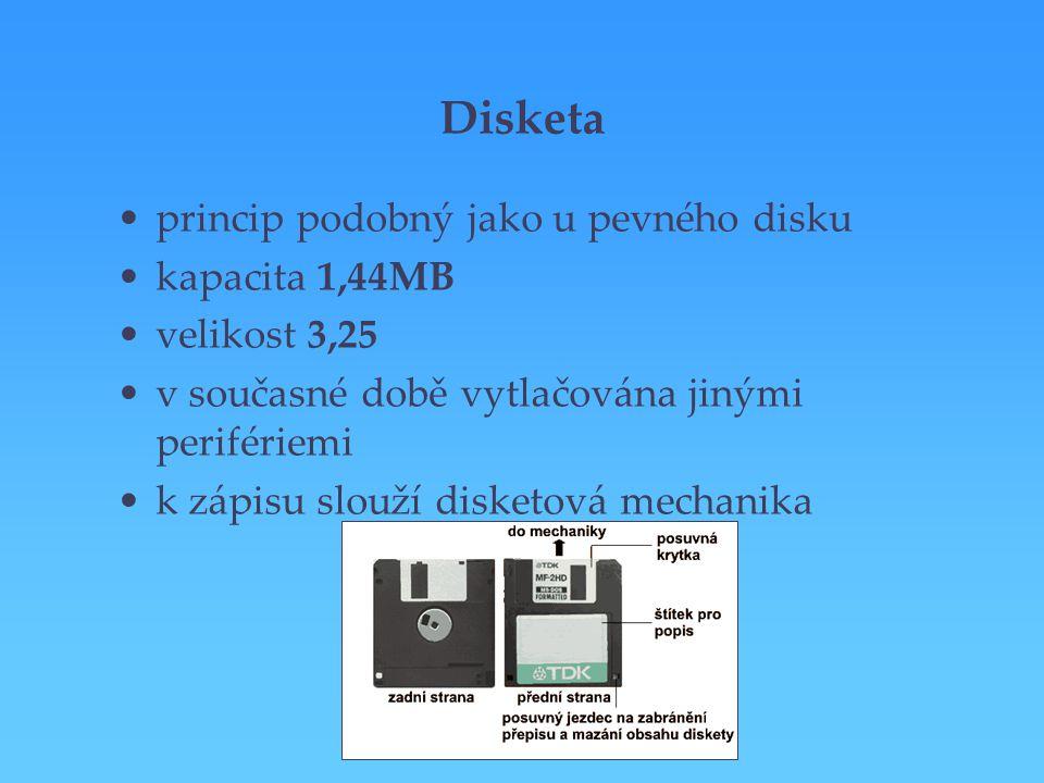 Disketa princip podobný jako u pevného disku kapacita 1,44MB