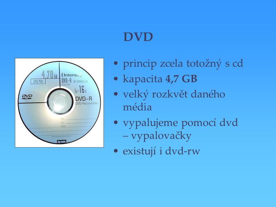 DVD princip zcela totožný s cd kapacita 4,7 GB