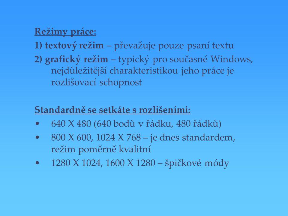 Režimy práce: 1) textový režim – převažuje pouze psaní textu.