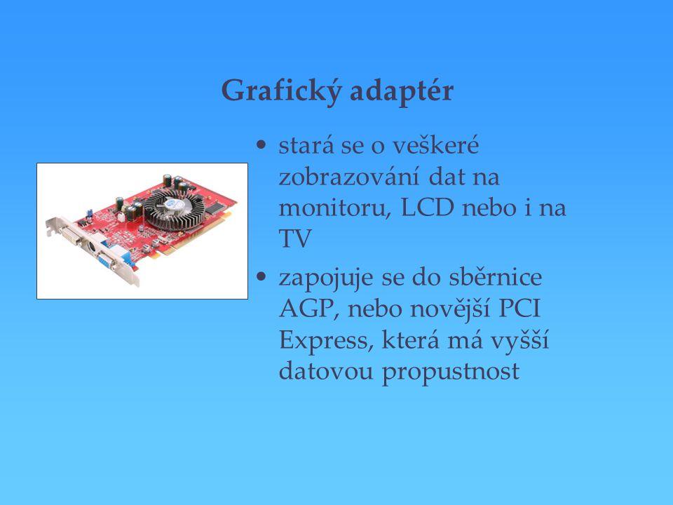 Grafický adaptér stará se o veškeré zobrazování dat na monitoru, LCD nebo i na TV.