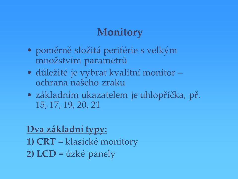 Monitory poměrně složitá periférie s velkým množstvím parametrů