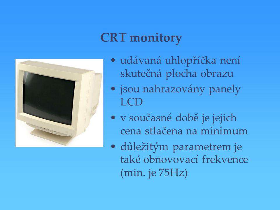 CRT monitory udávaná uhlopříčka není skutečná plocha obrazu