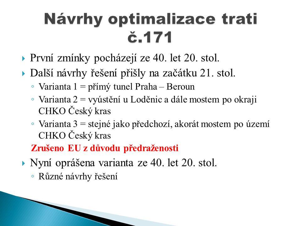 Návrhy optimalizace trati č.171