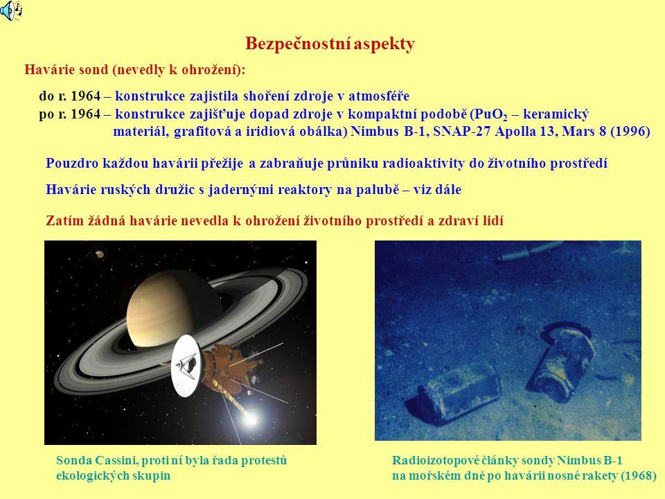 Bezpečnostní aspekty Havárie sond (nevedly k ohrožení):