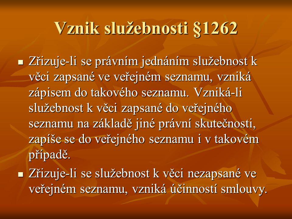 Vznik služebnosti §1262