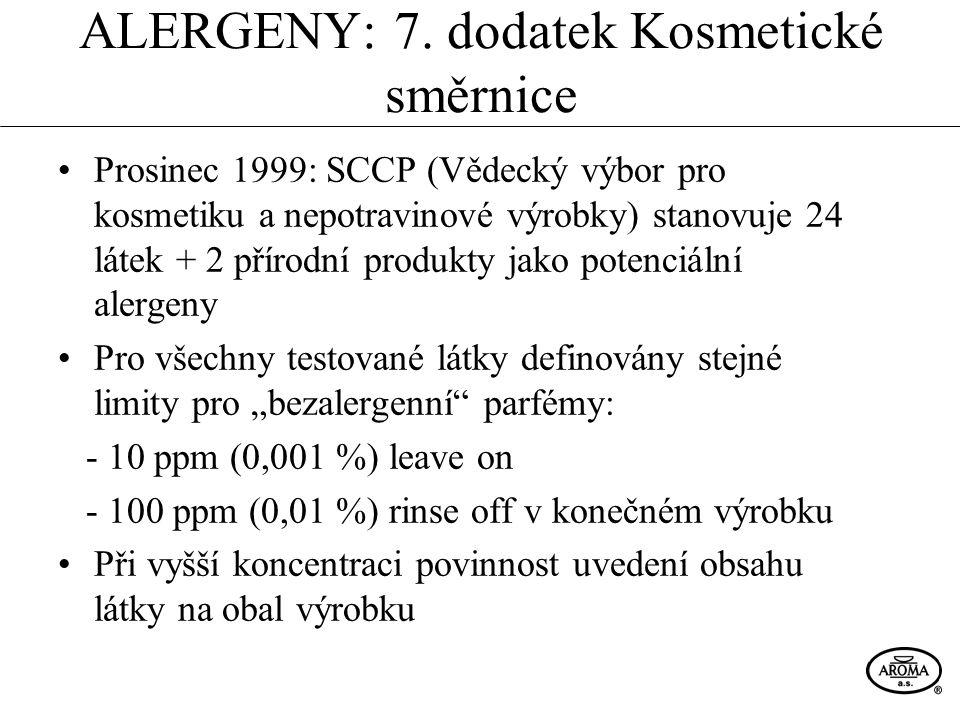 ALERGENY: 7. dodatek Kosmetické směrnice