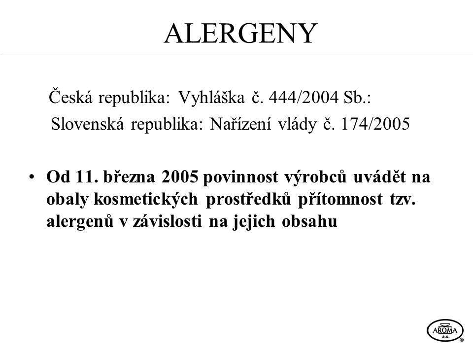 ALERGENY Česká republika: Vyhláška č. 444/2004 Sb.: