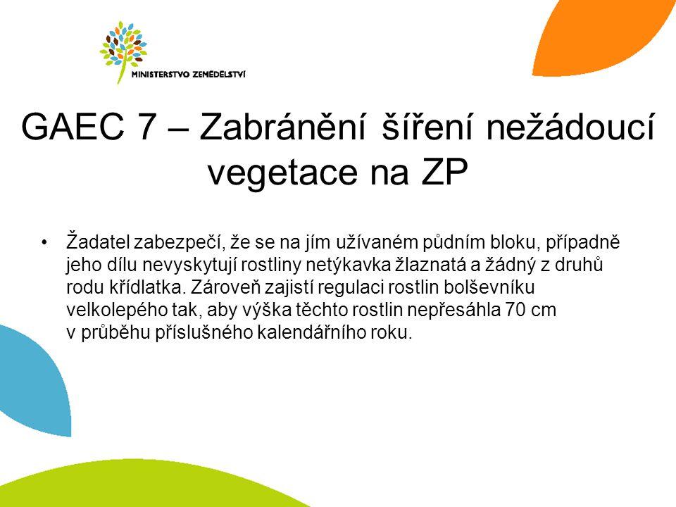 GAEC 7 – Zabránění šíření nežádoucí vegetace na ZP