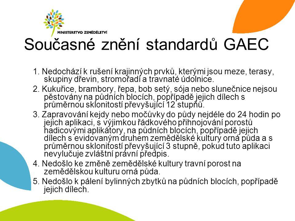 Současné znění standardů GAEC