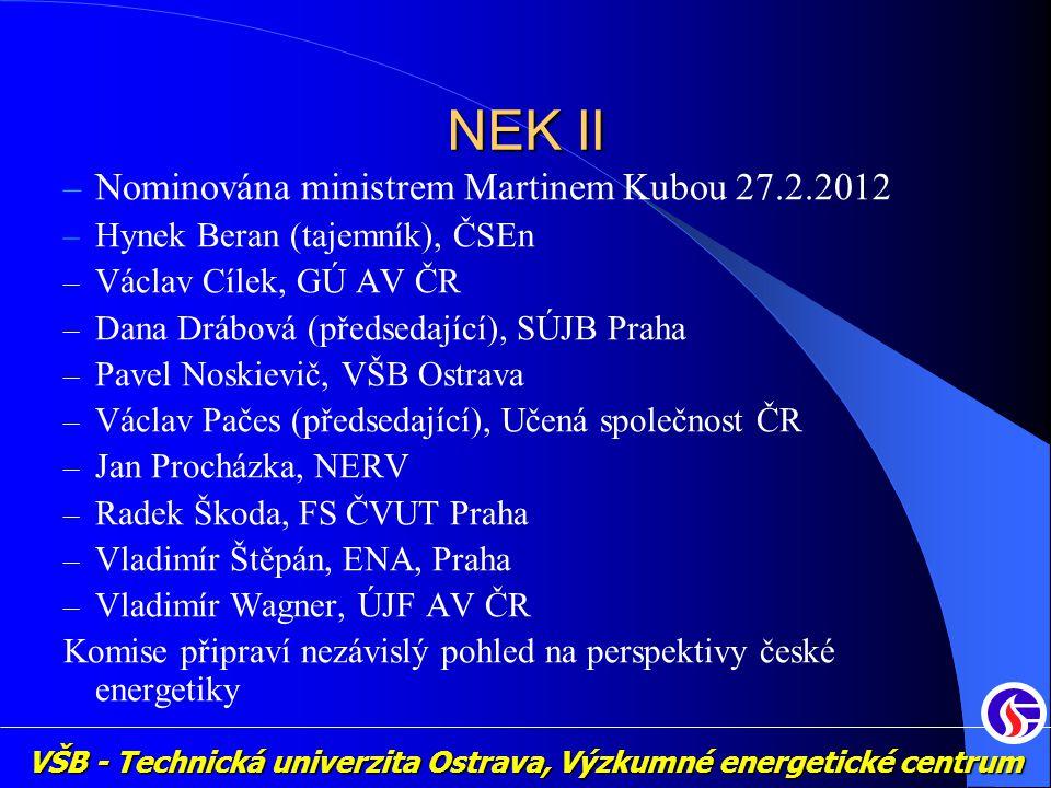 NEK II Nominována ministrem Martinem Kubou 27.2.2012