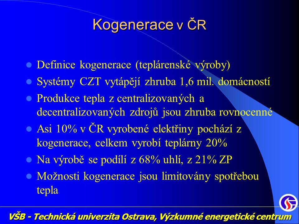 Kogenerace v ČR Definice kogenerace (teplárenské výroby)
