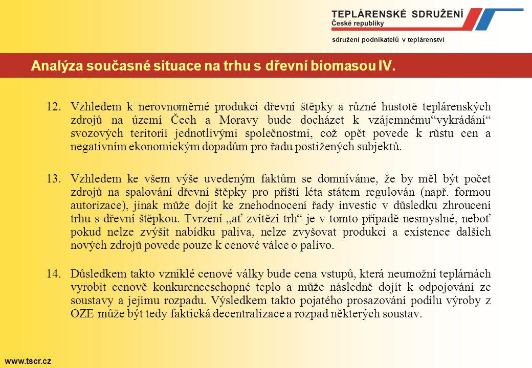 Analýza současné situace na trhu s dřevní biomasou IV.
